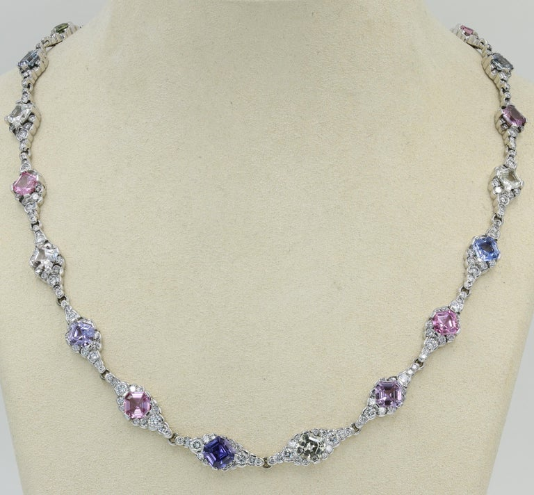 Lester Lampert & Royal Asscher Natural Sapphire & Diamond Necklace in 18kt WG For Sale 4