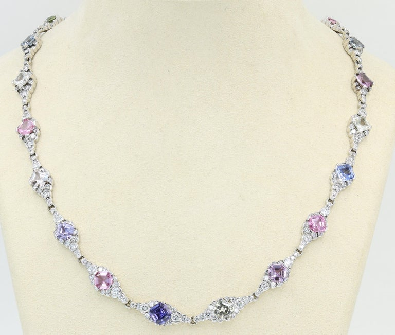 Lester Lampert & Royal Asscher Natural Sapphire & Diamond Necklace in 18kt WG -  A Lester Lampert original CumuLLus® Diamond necklace with Royal Asscher® (Natural, no heat) multi-colored Sapphires from Sri Lanka - 18kt WG - 395 Ideal cut diamonds