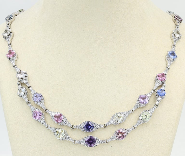 Contemporary Lester Lampert & Royal Asscher Natural Sapphire & Diamond Necklace in 18kt WG For Sale