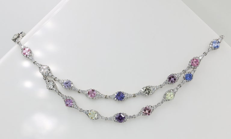 Lester Lampert & Royal Asscher Natural Sapphire & Diamond Necklace in 18kt WG For Sale 1