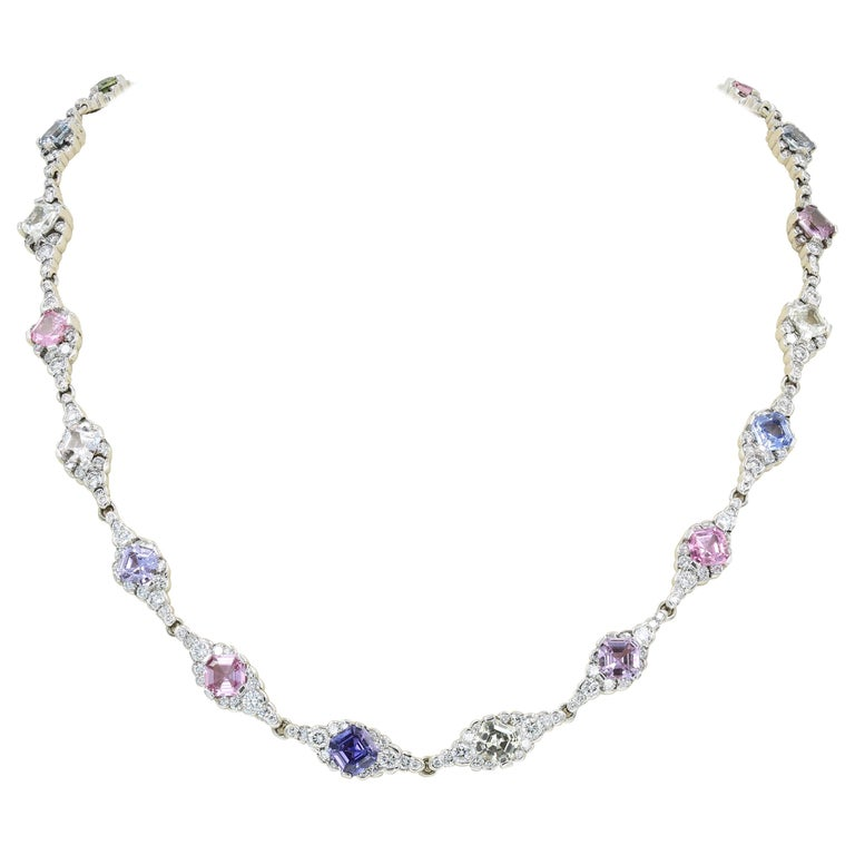 Lester Lampert & Royal Asscher Natural Sapphire & Diamond Necklace in 18kt WG For Sale