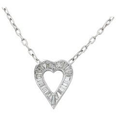 Lester Lampert Signature Large Baguette Diamond Heart Necklace