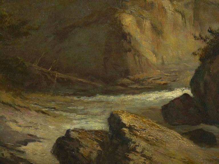"""Lester River, Duluth"" Antique Landscape Oil Painting by Feodor Von Luerzer For Sale 5"
