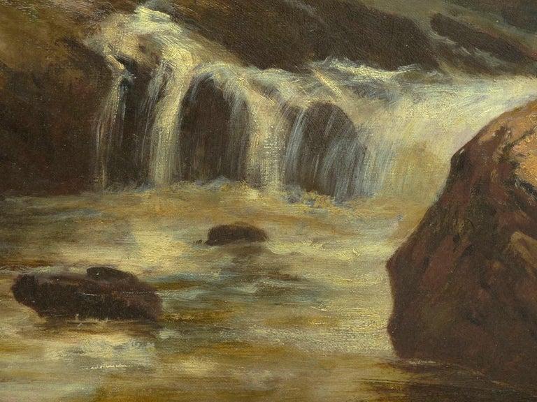 """Lester River, Duluth"" Antique Landscape Oil Painting by Feodor Von Luerzer For Sale 7"