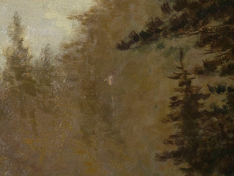 """Lester River, Duluth"" Antique Landscape Oil Painting by Feodor Von Luerzer For Sale 9"