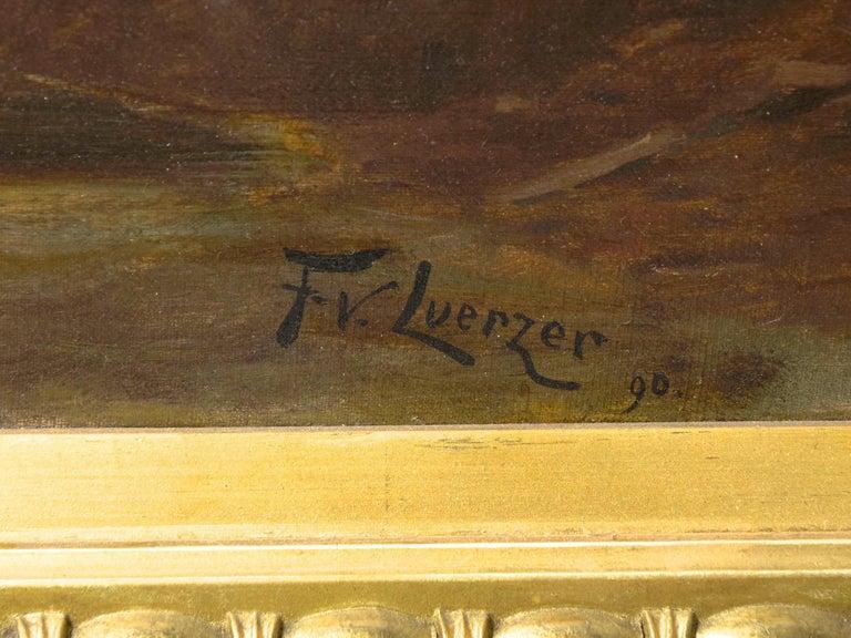 """Lester River, Duluth"" Antique Landscape Oil Painting by Feodor Von Luerzer For Sale 11"