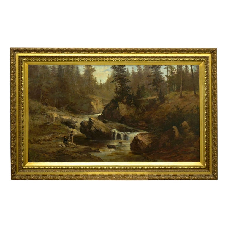 Little ascribes scale better to a landscape than the addition of figures, which in this Fine scene leaves the viewer awed by the sheer scale of the surrounding trees and towering boulders.   In capturing the contemporary beside nature, the artist