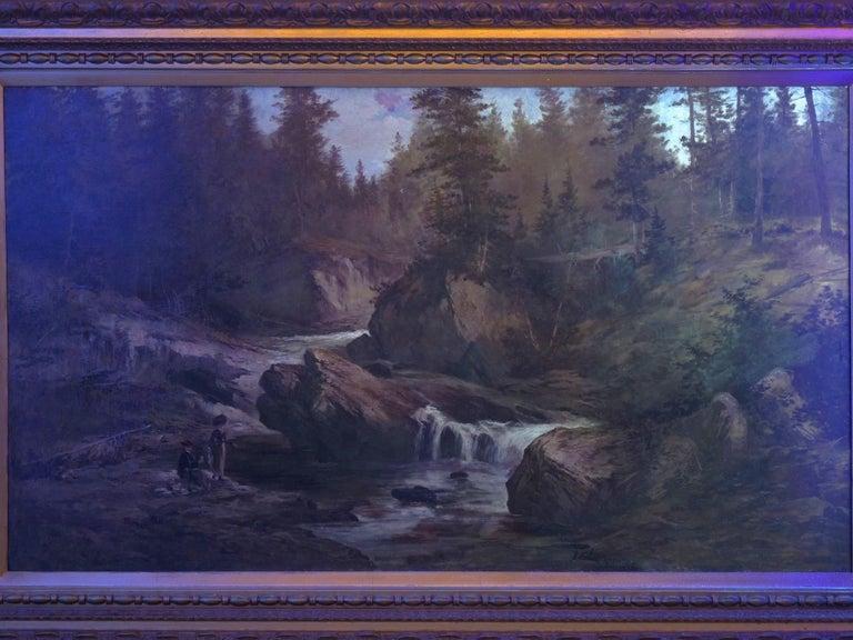 """Lester River, Duluth"" Antique Landscape Oil Painting by Feodor Von Luerzer For Sale 13"