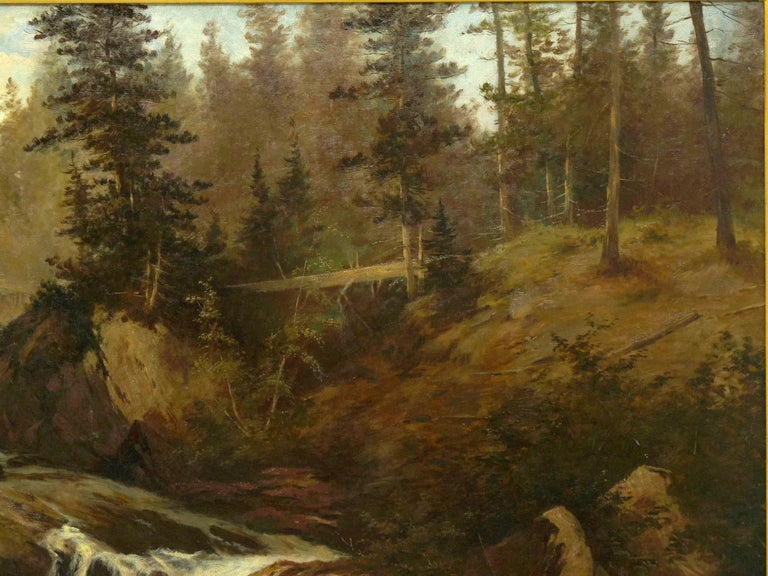 "Austrian ""Lester River, Duluth"" Antique Landscape Oil Painting by Feodor Von Luerzer For Sale"