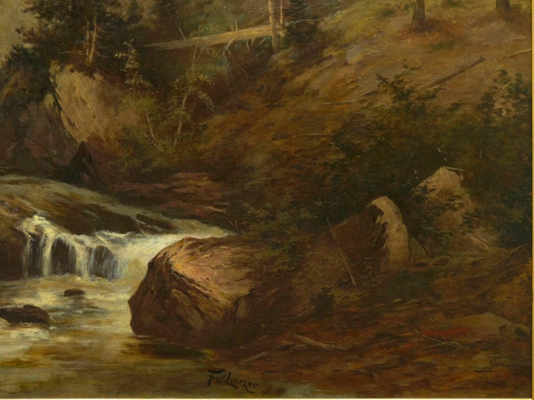 """Hand-Painted """"Lester River, Duluth"""" Antique Landscape Oil Painting by Feodor Von Luerzer For Sale"""