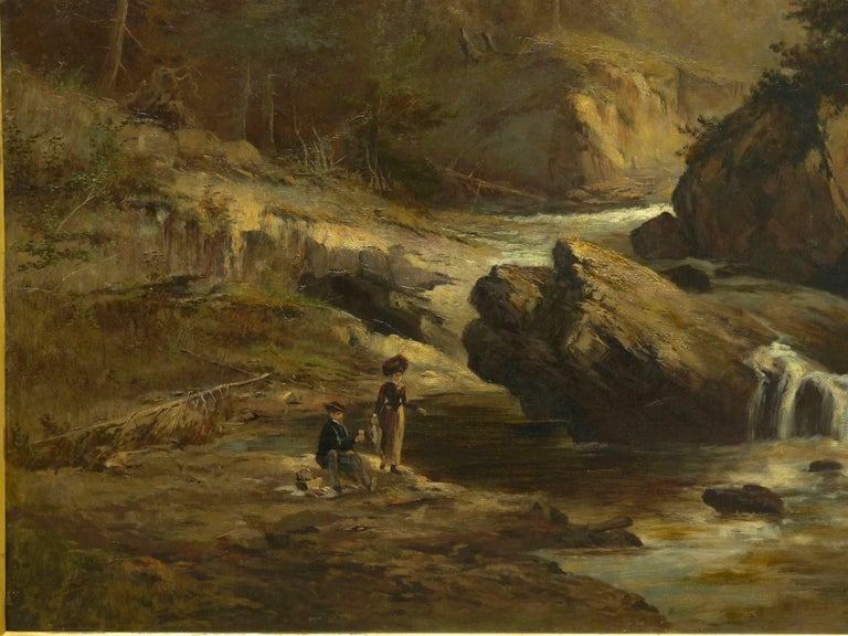 """""""Lester River, Duluth"""" Antique Landscape Oil Painting by Feodor Von Luerzer In Good Condition For Sale In Shippensburg, PA"""