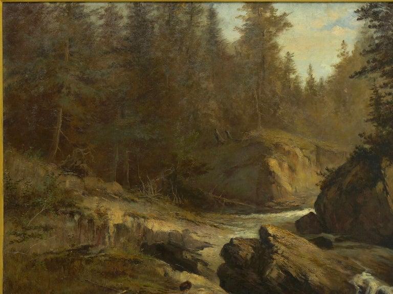"19th Century ""Lester River, Duluth"" Antique Landscape Oil Painting by Feodor Von Luerzer For Sale"