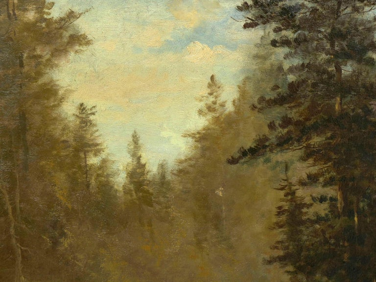 """Lester River, Duluth"" Antique Landscape Oil Painting by Feodor Von Luerzer For Sale 2"