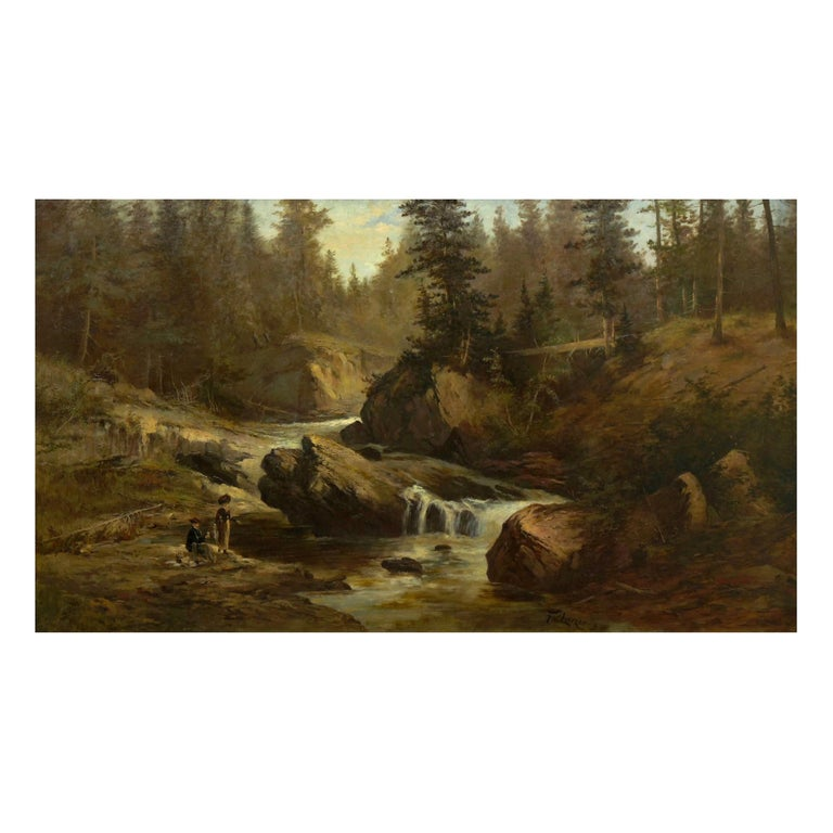 """Lester River, Duluth"" Antique Landscape Oil Painting by Feodor Von Luerzer For Sale"