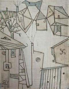 A province - XXI Century, Figurative & abstract etching print, Muted colors