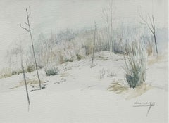 A village - XX Century, Watercolor landscape painting, Pastel colors