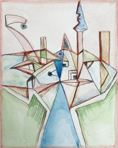 Border of two cities - XXI Century, Abstract drypoint & watercolor, Colorful