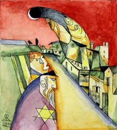 Exodus - XX Century Figurative, Abstract Etching Print with Watercolor, Colorful