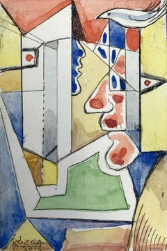 Folkwang -  Abstract drypoint & watercolor, Colorful, Surrealist, Vibrant