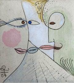 Jalousie - XXI Century, Figurative drypoint print & watercolor, Colorful