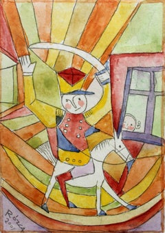 Little soldier - XXI Century Figurative Etching Print with Watercolor, Colorful