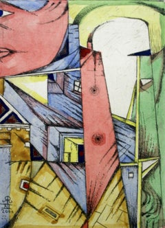 Little town - XX Century Figurative Etching Print with Watercolor, Colorful