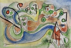 Mansion on a hill - XXI Century, Abstract drypoint & watercolor, Colorful
