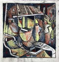 Spanish fly - XXI Century Abstract Etching Print with Watercolor, Figurative