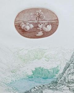 Two nostalgic landscapes  - XX Century, Figurative etching print