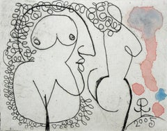 Two torsos and a profile - XXI Century Figurative Etching Print with Watercolor
