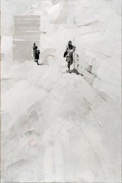 Library - Minimalist, Acrylic on Canvas, 21st Century,  Figurative Painting
