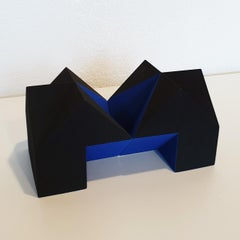 SC1403 blue - contemporary modern abstract geometric ceramic object sculpture