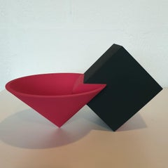 SC1601 red - contemporary modern abstract geometric ceramic object sculpture