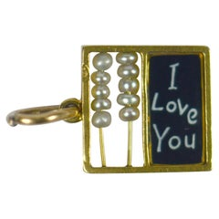 Let Me Count The Ways I Love You Gold Enamel Pearl Charm