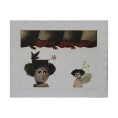 """La Espera"" Mexican Surreal Figurative Reptile Etching"