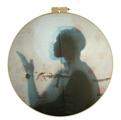 American Light - Floral silhouette portrait fabric print, wooden embroidery hoop