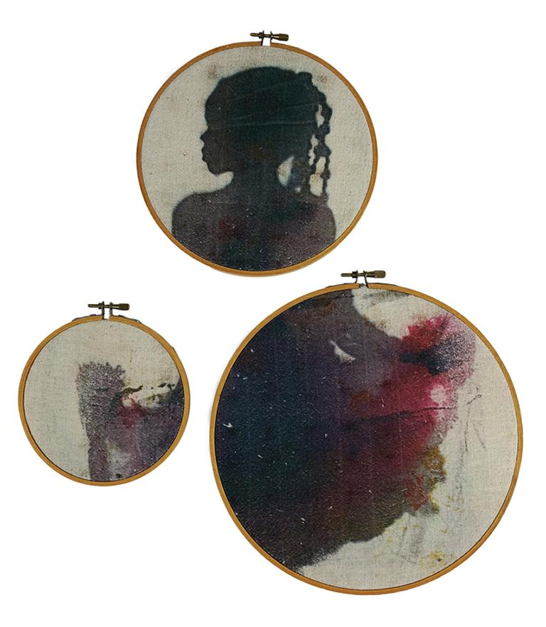 Letitia Huckaby Figurative Photograph - Beautiful Blackness - 3-part silhouette on fabric in vintage embroidery hoops