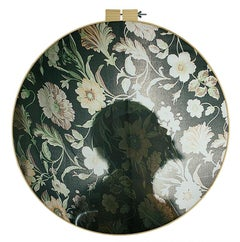 Called Delineation - Figurative floral print on fabric in embroidery hoop
