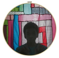 The Rising Sun - Silhouette colorful textile fabric print in embroidery hoop