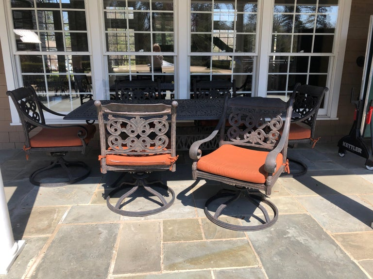 Let's Have a Party Large Cast Aluminum Patio Dining Table and 6 Armchairs For Sale 5
