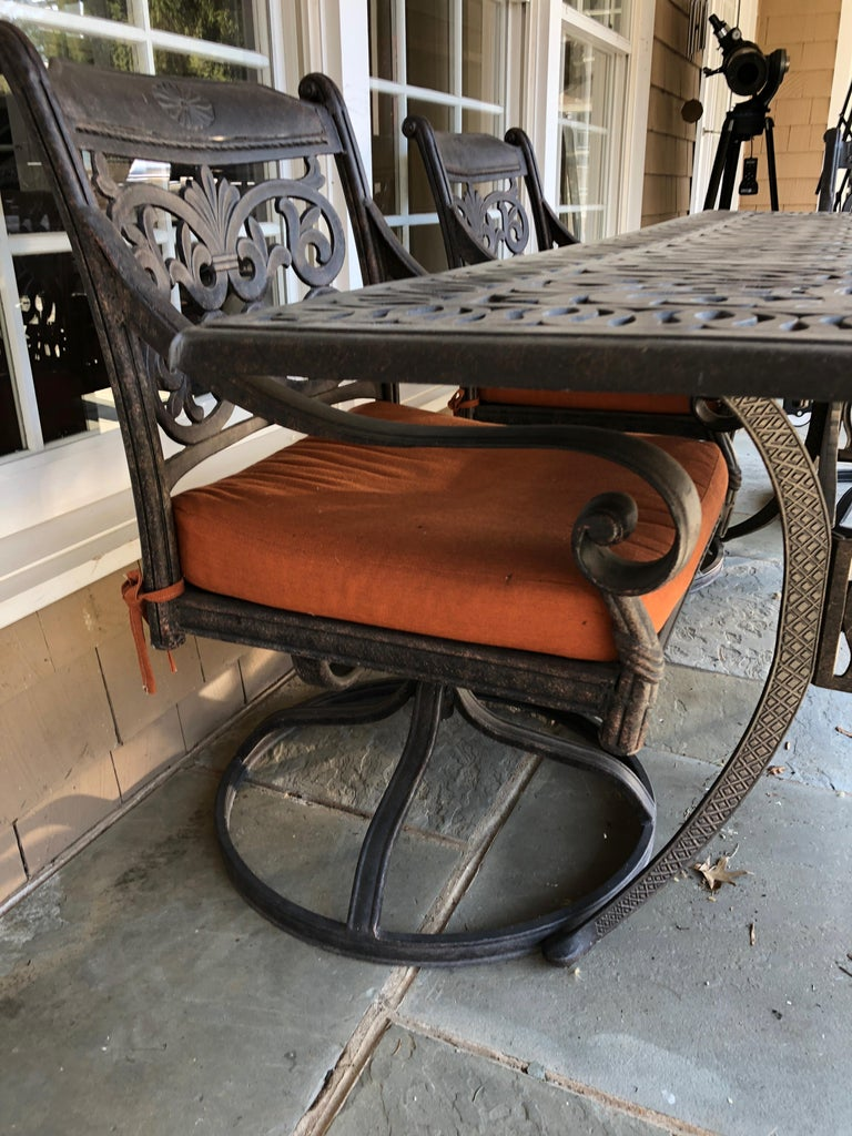 Let's Have a Party Large Cast Aluminum Patio Dining Table and 6 Armchairs For Sale 6