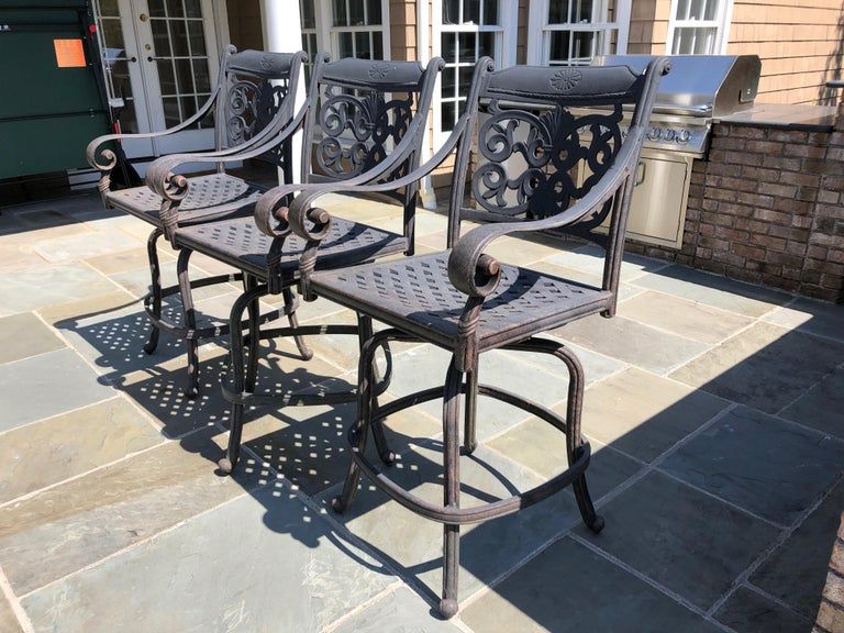 Let's Have a Party Large Cast Aluminum Patio Dining Table and 6 Armchairs For Sale 9