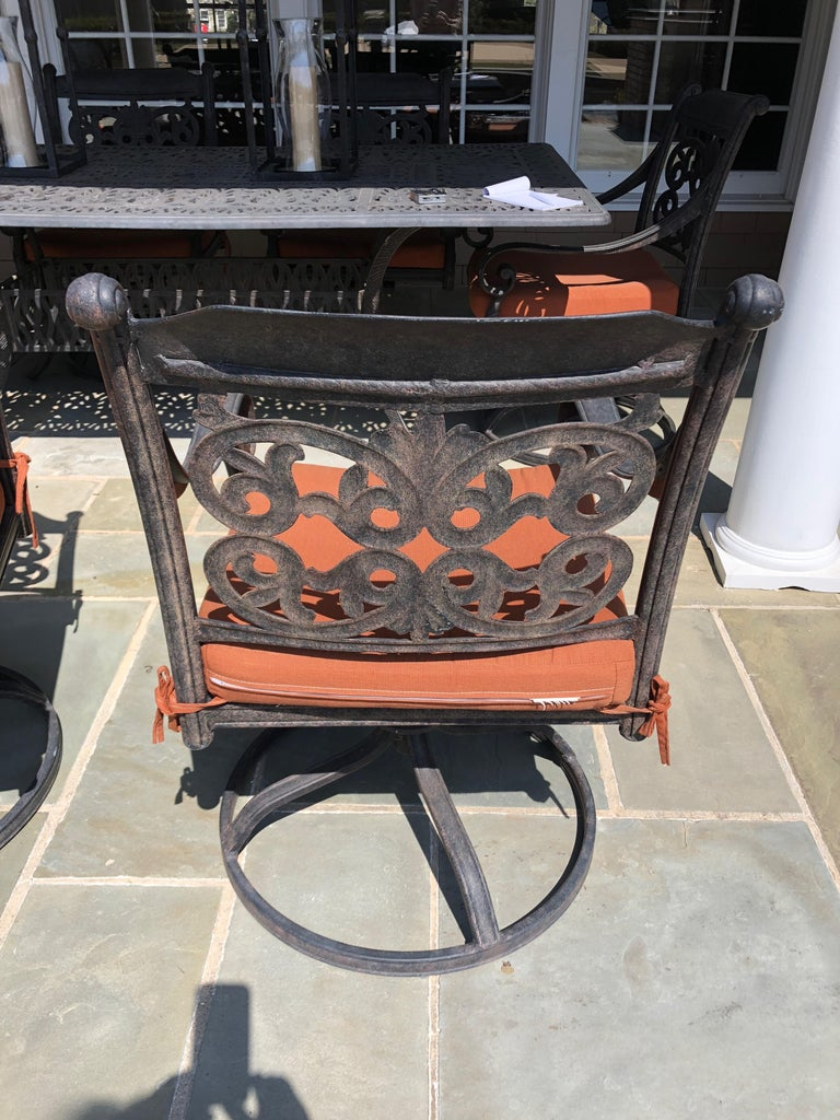 Let's Have a Party Large Cast Aluminum Patio Dining Table and 6 Armchairs For Sale 1