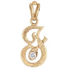 Letter F Diamond Pendant Vintage 14 Karat Gold Florentine Finish Old Cursive