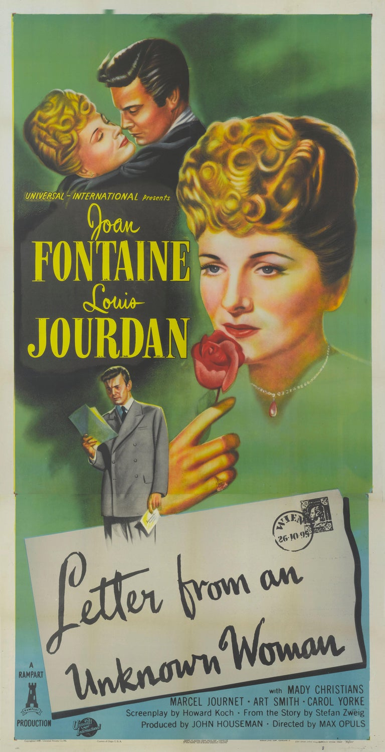 Original US film poster for the 1948 drama directed Max Ophuls and starred Joan Fontaine, Louis Jordan. The poster was printed in 2 sheets and designed to be pasted up on bill board and therefore only unused examples survived. The poster is in