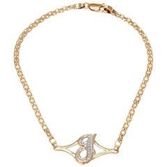 Letter J Initial Bracelet Vintage 14 Karat Yellow Gold Diamond ID Jewelry