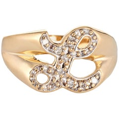 Letter L Diamond Signet Ring Vintage 14 Karat Yellow Gold Initial Estate Jewelry