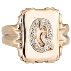 Letter Q Signet Ring Vintage 14 Karat Yellow Gold Square Men's Initial Jewelry