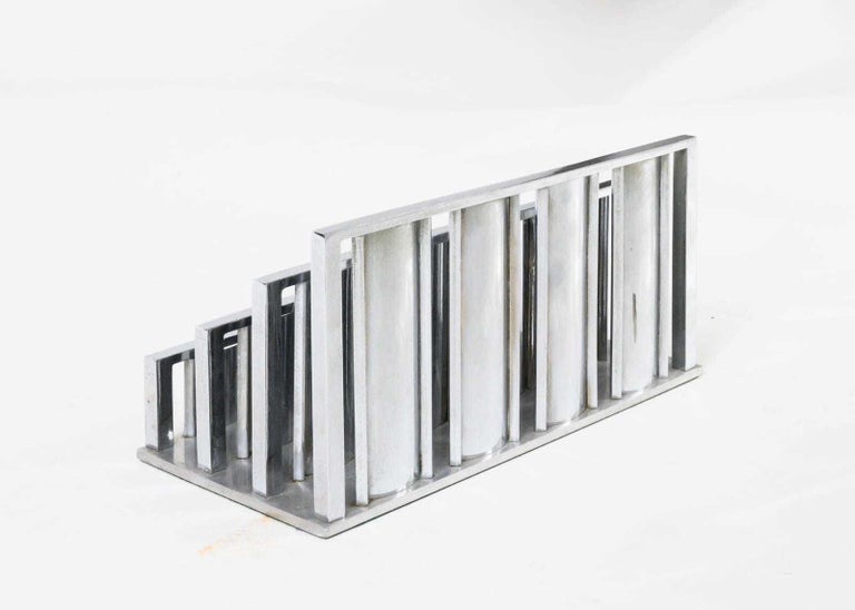 Plated Letter Rack by Jacques Adnet For Sale