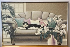 Large Scale Reclining Black & White Cat on Sofa Painting by Letterman C.1970